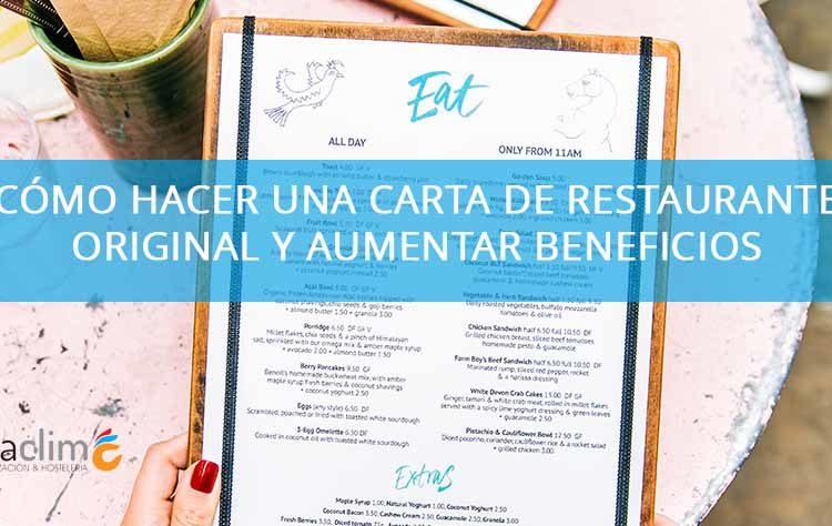 cómo hacer una carta de restaurante original